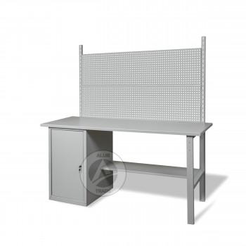 Верстак металлический слесарный с тумбой и перфопанелями 1800х620х850